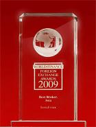 รางวัล World Finance Awards ประจำปี 2009 - โบรกเกอร์ที่ดีที่สุดแห่งเอเชีย (The Best Forex Broker in Asia)