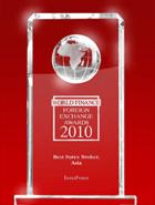 ИнстаФорекс – World Finance Awards тұжырымы бойынша 2010 ж. Азияның үздік брокері